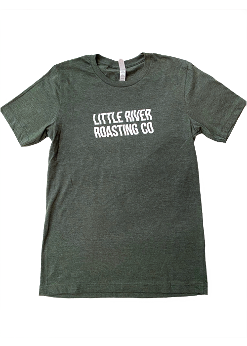 Heather Forest | Wavy Letters Little River Roasting Co. T-Shirt