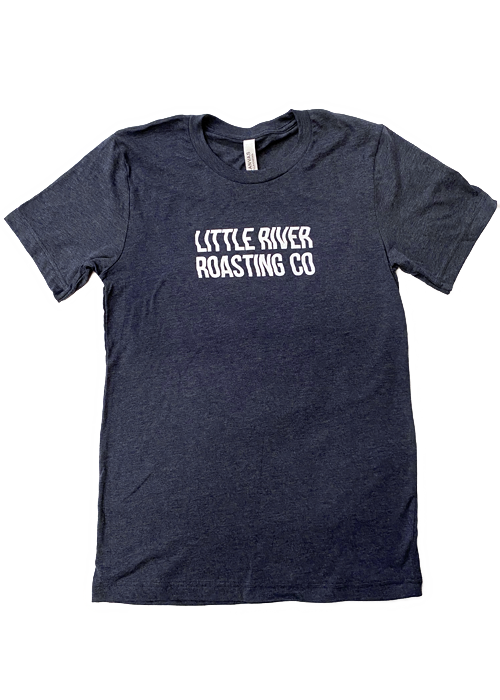 Heather Navy | Wavy Letters Little River Roasting Co. T-Shirt